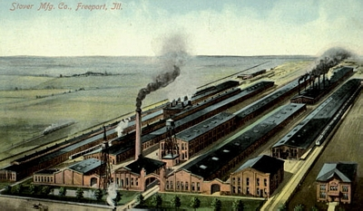 Old postcard showing Stover Mfg. Co.