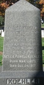 Koehler tombstone in Arlington National Cemetery